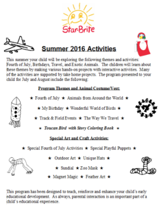 Summer Activities for Newsletter 2016